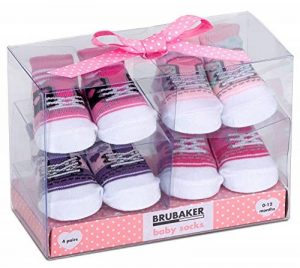 BRUBAKER - Chaussettes bébé - Lot de 4 Paires - Fille 0-12 Mois - Coffret cadeau Naissance/Baptême - Fun Sneaker/Baskets - Rose de la marque Brubaker image 0 produit