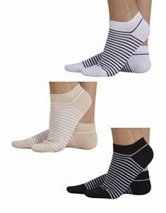CALZITALY 3 Paires – Chaussettes en Coton   Socquettes pour Femme à Rayures   Chaussettes courtes rayées   Noir + Blanc + Beige   35/38 – 39/42   Made in Italy de la marque CALZITALY image 0 produit