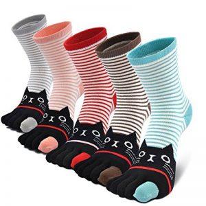 Chaussettes 5 doigts Femme avec orteils multicolores drôle chat de dessin animé animaux, 5 paires de la marque CaiDieNu image 0 produit