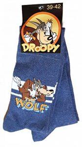 Chaussettes homme Licence- Offre spéciale Pack de 2 paires: 1 paire motif + 1paire uni- (Droopy, Garfield,Simpsons,Calimero...) (39/42, Droopy wolf bleu) de la marque Disney+socks. image 0 produit