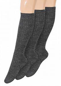 Chaussettes montantes chaudes en laine de ski pour homme avec semelle en peluche, Gris, 3paires de la marque kb-Socken image 0 produit