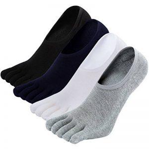 Chaussettes Orteils Homme Invisibles, Chaussettes à doigts en Coton, Socquettes Five Fingers, 4 Paires de la marque CaiDieNu image 0 produit