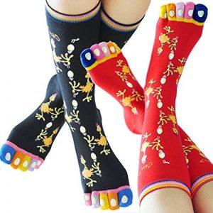 Coffret chaussettes doigts Poulette - Noir Rouge - 36-41 de la marque Chau7 image 0 produit