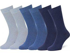 Easton Marlowe Chaussettes Homme Unies Coton Peigné - Lot de 6-6pk #3-4, Bleu Clair/Denim/Indigo melange - 43-46 EU shoe size de la marque Easton-Marlowe image 0 produit