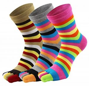 EEVASS Chaussettes de sport pour femmes à rayures Élastique 5 doigts 3 paires de la marque EEVASS image 0 produit