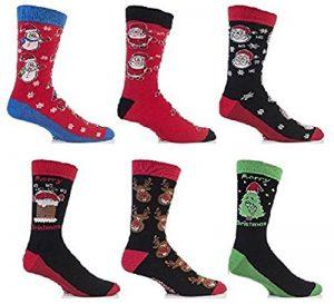 Festive Feet - 3 paires chaussettes de noël festif modèle homme 6-11 UK 39-45 EUR (le style peut varier) de la marque Festive-Feet image 0 produit