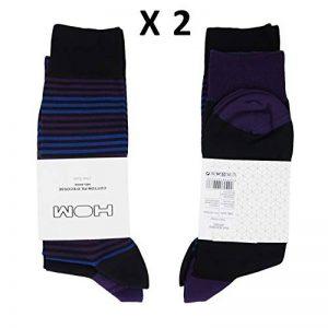 Hom Lot de 2 Paires de Chaussettes en Fil d'écosse mélangé Noire à Pointes Violettes et Noir à Rayures Violettes et Bleues de la marque Hom image 0 produit