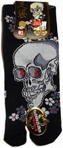 JAPONMANIA - Chaussettes Tabi mi-mollet - Du 39 au 43 - Motifs de crânes - Noir, Taille unique, Rouge de la marque JAPONMANIA image 0 produit