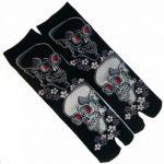 JAPONMANIA - Chaussettes Tabi mi-mollet - Du 39 au 43 - Motifs de crânes - Noir, Taille unique, Rouge de la marque JAPONMANIA image 1 produit
