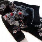 JAPONMANIA - Chaussettes Tabi mi-mollet - Du 39 au 43 - Motifs de crânes - Noir, Taille unique, Rouge de la marque JAPONMANIA image 4 produit