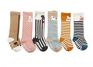 JT-Amigo, 6 Paire de Chaussettes Hautes (Genou) Antiderapants, Bébé Fille, Motif Animaux, 0-2 Ans de la marque JT-Amigo image 0 produit