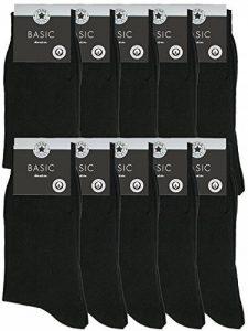 Lot de 10paires de chaussettes business, pour homme, noir 100% coton + 39 40 41 42 43 44 45 46 47 48 49 50 + de la marque millionen-olly image 0 produit