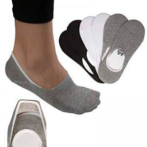 Lot de 6 paires de chaussettes basses invisibles en coton, unisexes, noires, grises, blanches, antidérapantes avec silicone de la marque Morinex image 0 produit