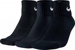 Nike - Cushion Quarter Chaussettes - Mixte adulte - lot de 3 - Blanc/Noir - 38-42 de la marque Nike image 0 produit