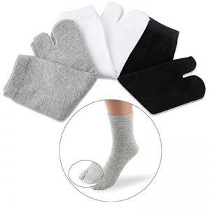 NUOLUX Chaussettes coton élastique Tabi Toe chaussettes 3 paires (blanc + gris + noir) de la marque NUOLUX image 0 produit