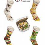 PIZZA SOCKS BOX - Pizza MIX Hawaïenne Italienne et Végétarienne - 4 paires de Chaussettes FANTAISIE Uniques et Originales - CADEAU Drôle en COTON!  pour Fammes et Hommes Made in Europe de la marque Rainbow-Socks image 2 produit
