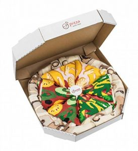PIZZA SOCKS BOX - Pizza MIX Hawaïenne Italienne et Végétarienne - 4 paires de Chaussettes FANTAISIE Uniques et Originales - CADEAU Drôle en COTON!  pour Fammes et Hommes Made in Europe de la marque Rainbow-Socks image 0 produit