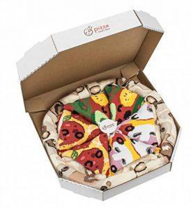 PIZZA SOCKS BOX - Pizza MIX Végétarienne Capriciosa Peppéroni- 4 paires de Chaussettes FANTAISIE Uniques et Originales - CADEAU Drôle en COTON! |pour Fammes et Hommes, UE: 36-40, 41-46|Made in Europe de la marque Rainbow-Socks image 0 produit