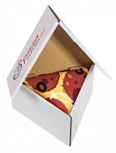 PIZZA SOCKS BOX SLICE - Peppéroni - 1 paire de Chaussettes FANTAISIE Uniques et Originales - CADEAU Drôle en COTON! Fun Gadget | pour Fammes et Hommes, Tailles UE: 36-40, 41-46|fabriqué dans l'UE de la marque Rainbow-Socks image 0 produit