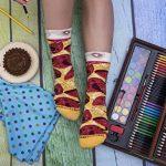 PIZZA SOCKS BOX SLICE - Peppéroni - 1 paire de Chaussettes FANTAISIE Uniques et Originales - CADEAU Drôle en COTON! Fun Gadget | pour Fammes et Hommes, Tailles UE: 36-40, 41-46|fabriqué dans l'UE de la marque Rainbow-Socks image 4 produit