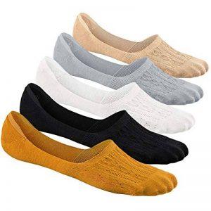 PUTUO Chaussettes Invisibles Femme Chaussettes Basses en Coton Respirantes Antidérapantes, Socquettes Femme Protège-pieds Invisible Chaussettes Courtes, EU 37-42, 5 paires de la marque PUTUO image 0 produit