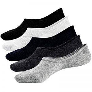 PUTUO Chaussettes Invisibles Homme Chaussettes Basses Courtes, Protège-Pied Homme Socquettes en Coton Chaussettes de Sport, Antiglisse, 5 paires de la marque PUTUO image 0 produit