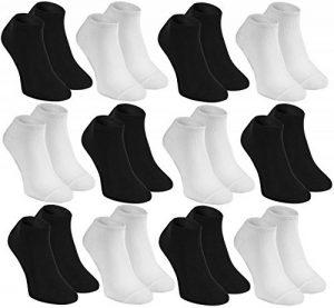 Rainbow Socks Socquettes en BAMBOU by Chaussettes COURTES, Délicates, Antibactériennes, Respirantes, Douces, Confortable Blanc & Noir Pack pour Famme et Homme, Made en EUROPE de la marque Rainbow-Socks image 0 produit
