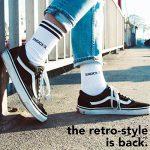 Snocks retro socks - Chaussettes sport homme et femme (4 paires) – Pointure 35 à 50 Couleur: noir, blanc, gris Chaussettes hautes retro rayures – Chaussettes tennis – Coton de la marque Snocks image 1 produit