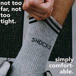 Snocks retro socks - Chaussettes sport homme et femme (4 paires) – Pointure 35 à 50 Couleur: noir, blanc, gris Chaussettes hautes retro rayures – Chaussettes tennis – Coton de la marque Snocks image 4 produit