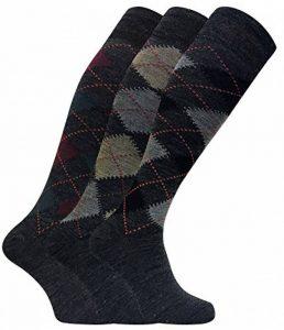 Sock Snob 3 paires homme chaussettes tres longues genoux hautes en laine dans marron et grise de la marque Sock-Snob image 0 produit
