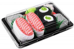 Sushi Socks Box - 2 paires de Sushi CHAUSSETTES en Coton: Saumon Nigiri Concombre Maki - CADEAU CRÉATIF pour Fammes et Hommes, Tailles UE: 36-40, 41-46| Bonne qualité - Certifié OEKO-TEX, made in UE de la marque Sushi+Socks+Box image 0 produit