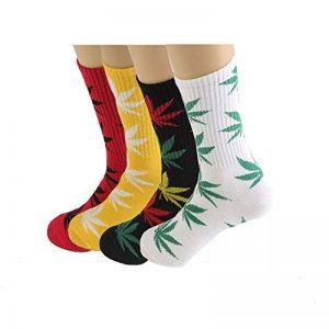 TTD 4 packs de mauvaises herbes uniSexe feuille de coton imprimé chaussettes feuille d'érable chaussettes imprimées sports sport marijuana haute équipage chaussettes de la marque TTD image 0 produit