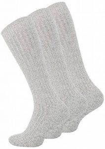 VCA Lot de 3 paires homme extra longues hautes laine chaussettes, gris melange de la marque VCA image 0 produit