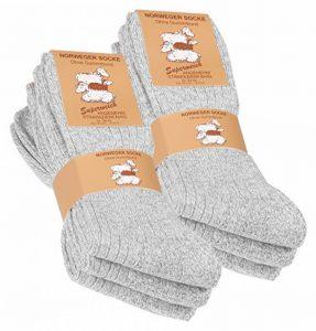 VCA Textil Lot de 6 paires de chaussettes norvégiennes - laine épaisse - semelle molletonnée - gris chiné de la marque VCA-Textil image 0 produit