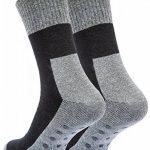 Vincent Creation 4 paires, chaussettes antidérapantes, peluche, chaussettes de butée, Bi Couleur: Noir/Gris de la marque Vincent-Creation image 3 produit
