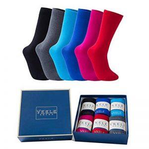 Vkele Lot de 6 paires de chaussettes monochromes, Plaid, Coloré, Dots, Rayé, Chaussettes pour hommes d'affaires, Chaussettes Techniques, Coton, taille 39-46 de la marque Vkele image 0 produit